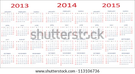 calendar classic templates for years 2013 2015 easy editable weeks start on Sunday