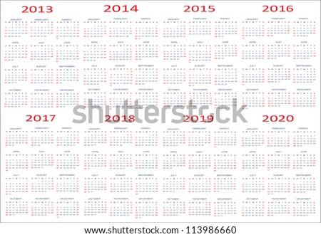 calendar classic templates for years 2013 - 2020, easy editable, weeks start on Sunday