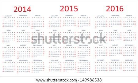calendar classic templates for years 2014 - 2016, easy editable, weeks start on Sunday