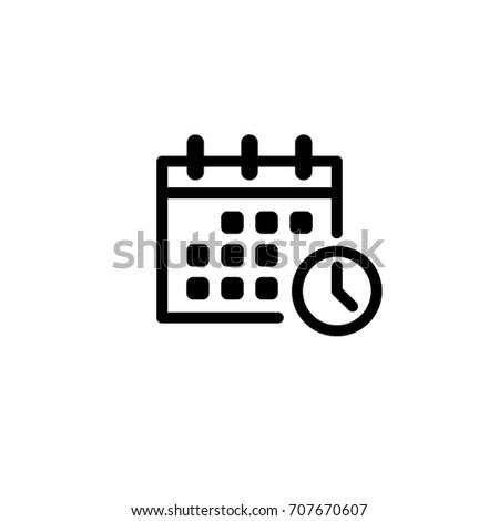 calendar, clock, vector icon