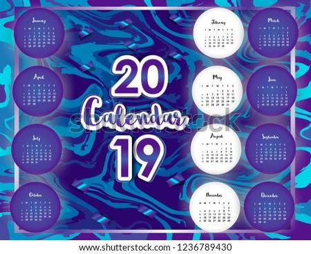 Calendar 2019. Colorful set.