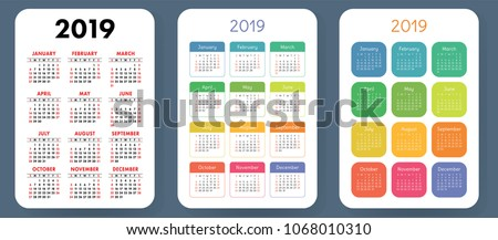 Calendar 2019. Colorful set. Week starts on Sunday. Basic grid