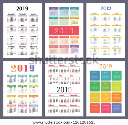 Calendar 2019. Colorful set. Week starts on Sunday. Basic grid. English vector calender collection for print. New year. Color simple design