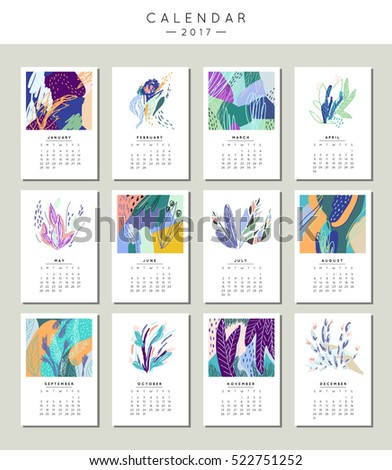 Calendar 2017. Creative template with leaves and flowers. Modern graphic design. Hand Drawn nature elements. Vector. Isolated