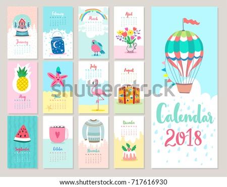 Calendar 2018. Cute monthly calendar with.