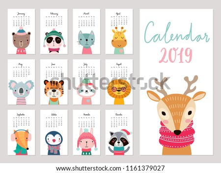 calendar 2019 cute monthly