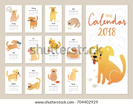 calendar 2018 cute monthly