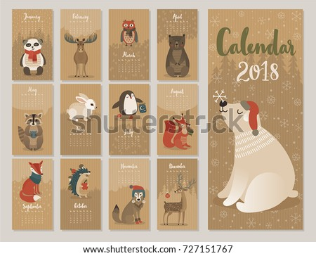 Calendar 2018. Cute monthly calendar with forest animals.