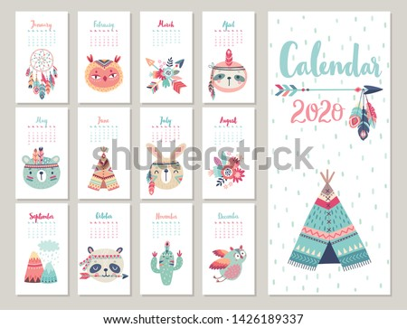 Calendar 2020. Cute monthly calendar with forest Boho animals. Hand drawn style characters.