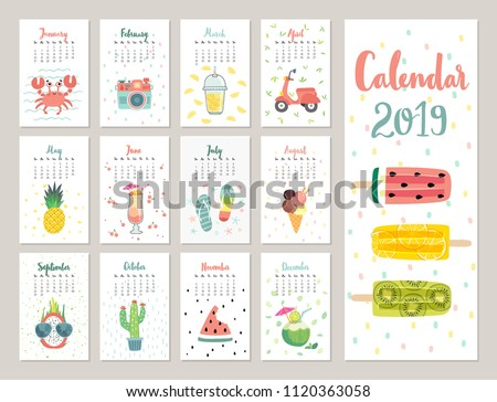 Calendar 2019. Cute monthly calendar with lifestyle objects, fruits, and plants. Hand drawn style illustration.