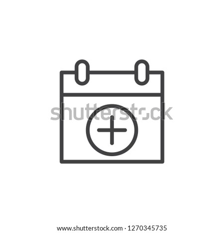 Calendar date add outline icon. linear style sign for mobile concept and web design. calendar page with plus simple line vector icon. Symbol, logo illustration. Pixel perfect vector graphics