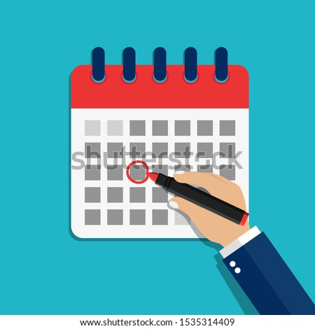 Calendar date circled of hand man. Circled appointment of calendar date of marker. Cartoon check event illustration. Mark holiday on the calendar. Schedule of plan deadline. Flat graphic vector