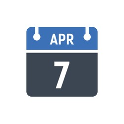 Calendar Date Icon - April 7 Vector Graphic
