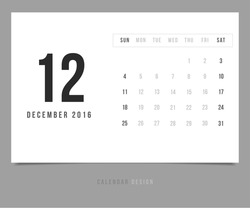 Calendar December 2016 vector design template - Minimalism Style