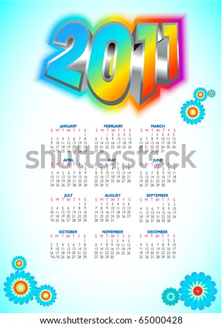 Calendar Design 2011 - stock vector