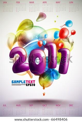 Calendar Design 2011 - stock vector