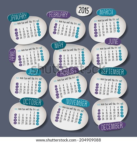 Calendar 2015 design English Sunday start Vector illustration