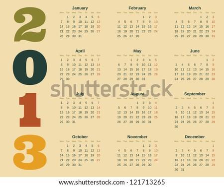 Calendar design for 2013.