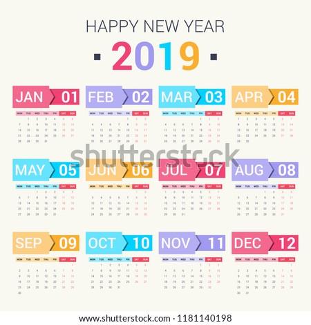 Calendar design for 2019. Set of 12 months on bright background. Week starts on monday. Vector design print template.