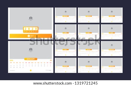Calendar design for 2020. simple yellow color. week starts on monday. set of 12 calendar pages with cover. horizontal version. vector design print template with place for photo.