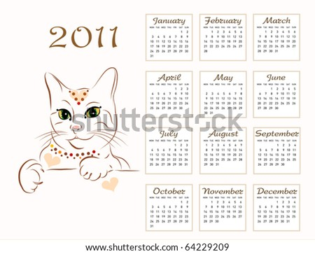 calendar design 2011 with glamour cat