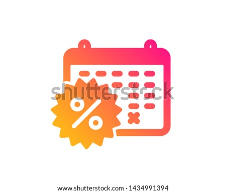 Calendar discounts icon. Sale shopping sign. Clearance symbol. Classic flat style. Gradient calendar discounts icon. Vector