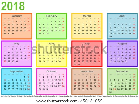 calendar 2018 each month in a differently colored square and markings of public holidays for