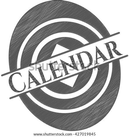 Calendar emblem drawn in pencil