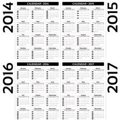 Calendar 2014, 2015, 20126, 2017 - EPS10 vector