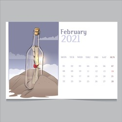 Calendar 2021 February message in a bottle travel theme vector illustration