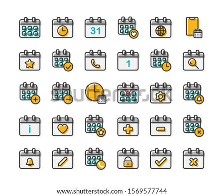 Calendar filled outline icon set. Vector and Illustration.