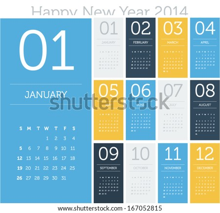 Calendar 2014 flat design color