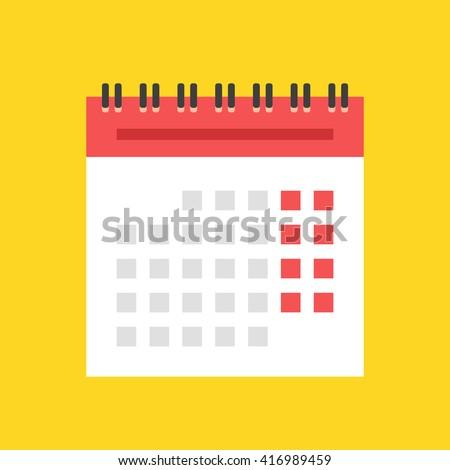 Calendar flat icon. European version. Spiral wall calendar vector illustration