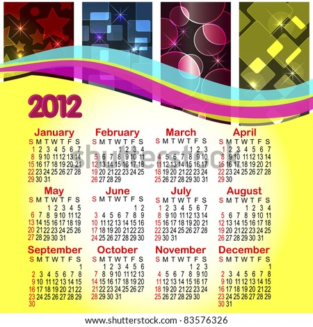 calendar for 2012 abstract