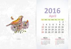 Calendar for 2016, april