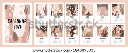 Calendar for 2021. Cute hygge calendar for 2021. Fashion calendar in Scandinavian style in beige tones. Vector template.