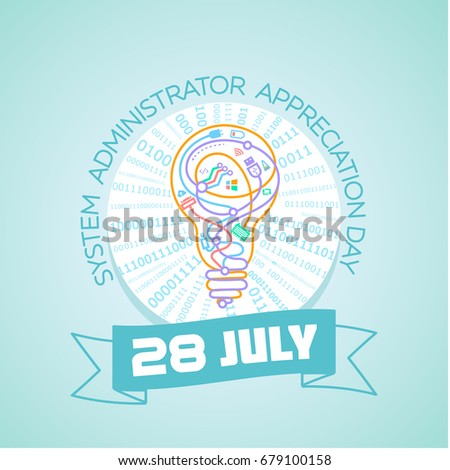 Calendar for each day on july28. Greeting card. Holiday -  System Administrator Appreciation Day. Icon in the linear style