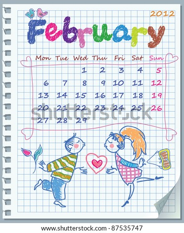 Calendar for February 2012. Week starts on Monday. Leaf torn from a notebook into a cell. Illustration of Valentine's Day.  Exercise book in a cage. - stock vector