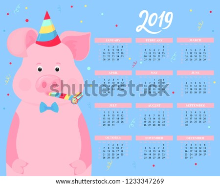 calendar for 2019 from sunday to saturday cute pig in a striped party hats and