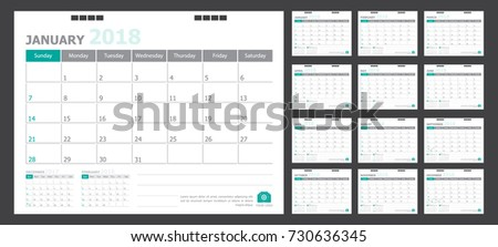 Calendar for 2018 green background