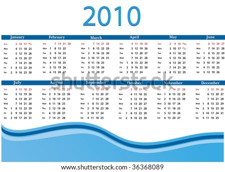 Calendar for 2010 in English - stock vector