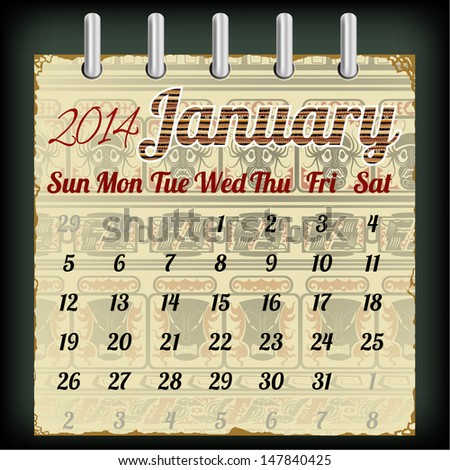 Calendar for January 2014 with an African background - stock vector