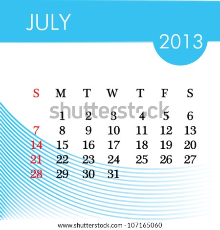 calendar for 2013 july illustration