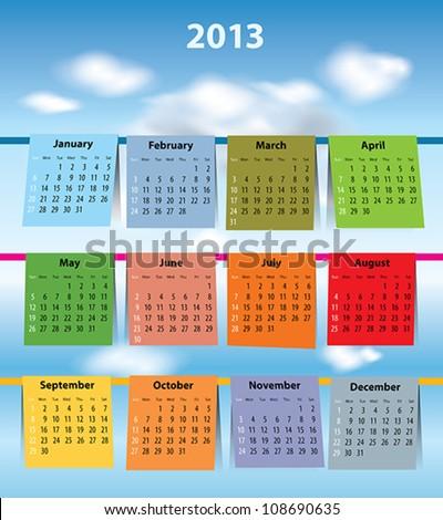 Calendar for 2013 like laundry on the clothesline. Sundays first
