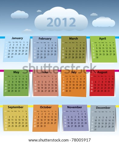 Calendar for 2012 like laundry on the clothline. Sundays first