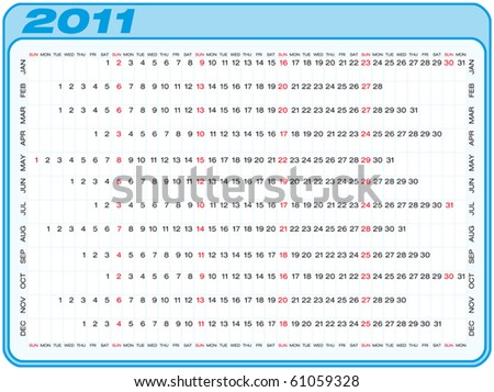 Calendar for 2011. Numbers within a grid. Horizontal design.