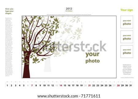 october 2012 calendar. stock vector : Calendar for 2012, October. Vector.