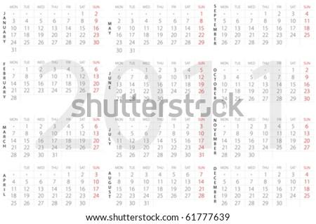 Calendar for 2011 on a white background. Vector illustration.