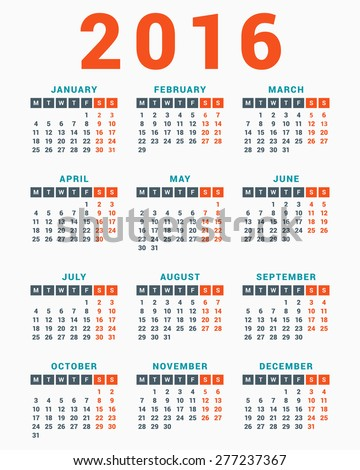 2016 calendar vector 123freevectors for 2104 calendar template