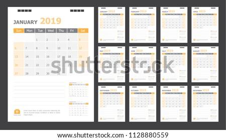 Calendar for 2019 orange background
